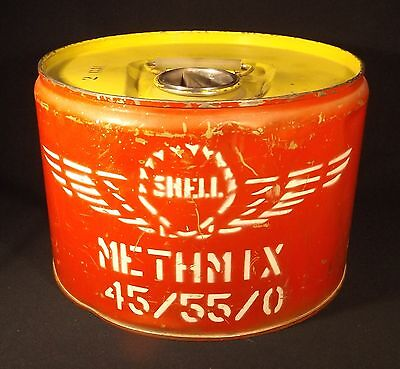 C.1950's Shell Aviation 2 Gallon Aviation Fuel Methmix 45/55/0 Large Red Tin>