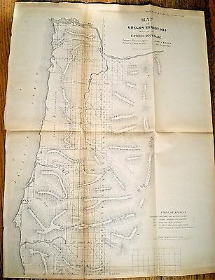1858 Map Of Oregon Territory West Of The Cascade Mountains ~ Surveyor General