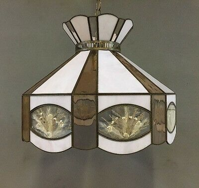 """Vintage Stained Slag Glass Hanging Light 17.5"""" Laminated Flowers Lamp Shade"""