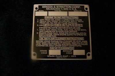 Antique Briggs and Stratton ID Plate  (Black)