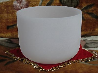 432Hz New Frosted Quartz Crystal Singing Bowl 7'' B Note Crown Chakra