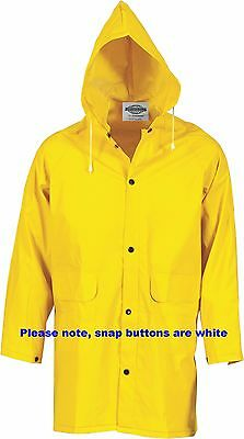 New Mens Hi Vis PVC Raincoat Safety Yellow Hood Heavy Duty 3/4 Length Small