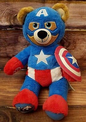 "Marvel Build a Bear 16"" Captain America Shield Plush Stuffed Red White Blue"