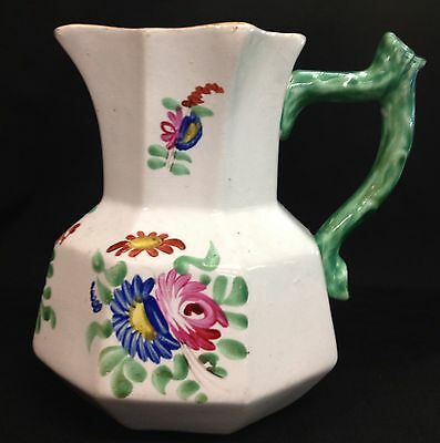 Dillwyn Swansea Jug Hand Painted Flowers 1830s Gaudy Welsh Pitcher Green Trim