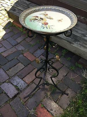 Antique Art Nouveau Wrought Iron Gothic Table /Plant Stand w Porcelain Tile Top