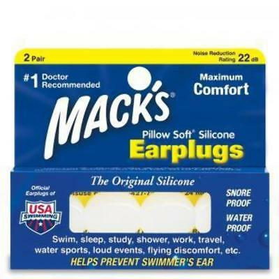 New Macks Pillow Soft Mouldable Silicone Ear Plugs (NRR 22) (2 Pairs)