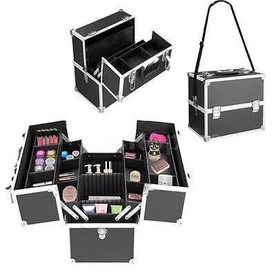Professional Cosmetics Large Makeup Train Case with 6 Extendable Shelves