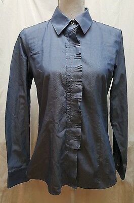 6b5b0ad9f Foxcroft Denim Look Non-Iron Fitted Button Up Pleated Blouse Shirt Blue Sz 6