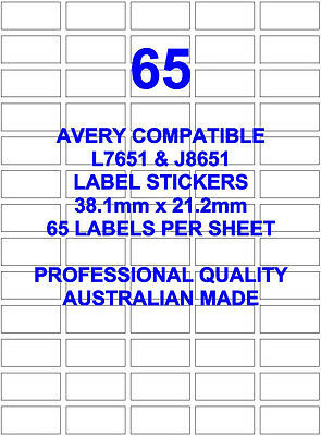 Avery L7651 & J8651 Compatible Address Label Stickers 65 X 100 Sheets Laser