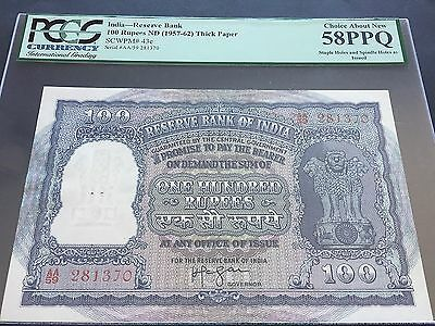 India 100 Rupees P43c Issued 1957 - 1962 PCGS Choice About New 58PPQ aUNC