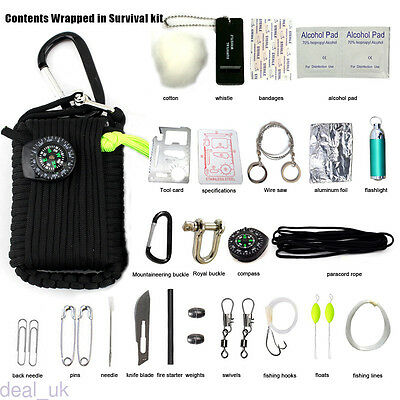 29 in 1 Outdoor Emergency Ropes Tool Kit First Aid Box Climbing Survival Bag