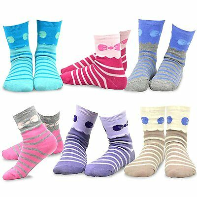 TeeHee Kids Girls Stripes Fashion Dots Short Crew 6 Pair Pack (Stripes and Bow)