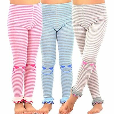 TeeHee Kids Girls Fashion Footless Tights 3 Pair Pack Happy Striped Soft Cute