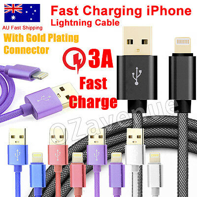 BRAIDED LIGHTNING USB CHARGE CABLE SYNC CORD FOR APPLE IPHONE 5/6/6S/7/7Plus/8