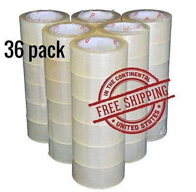 "36 Rolls Clear Carton Sealing Tape Packing Package Box 2 Mil 2""x110 Yards 330 ft"