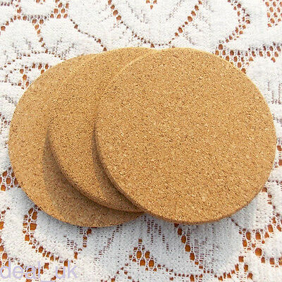 6 x Coasters Drink Cup Mat Coffee Cork Round Placemats Plain Tea Wine Tablemats