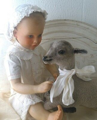 """Mary had a little lamb"":vintage taxidermy little lamb,lying position,soo lovely"