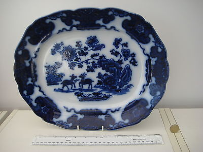 Very Rare Antique Flow Blue Ridgeway And Morley Cashmere Pattern Meat Platter