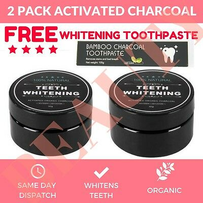 2 X Activated Charcoal Teeth Whitening 100% Organic Coconut Powder Carbon Coco