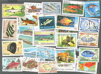 Fish on stamps 200 all different collection -