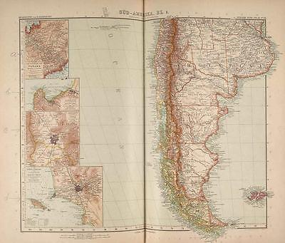 Stielers Hand-Atlas Map 1907 Justus Perthes Gotha South America Argentina Chile