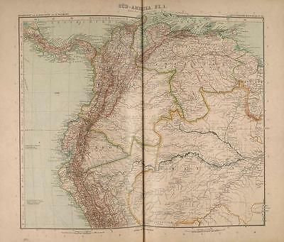 Stielers Map1907 Justus Perthes Gotha South America Columbia Venezuela Ecuador