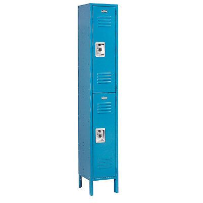 Double Tier Locker, 12x12x36 2 Door, RTA, Blue, Lot of 1