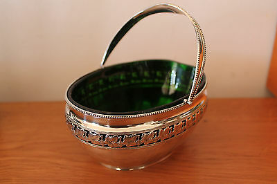 Solid silver basket - green bowl, antique - Deakin & Francis (Birm 1907) .