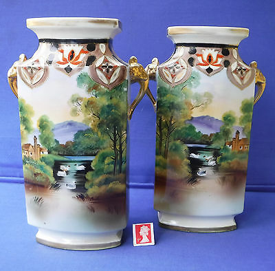 A Fine Large Pair of Antique Noritake Vases,Swan Lake  Elephant Handles