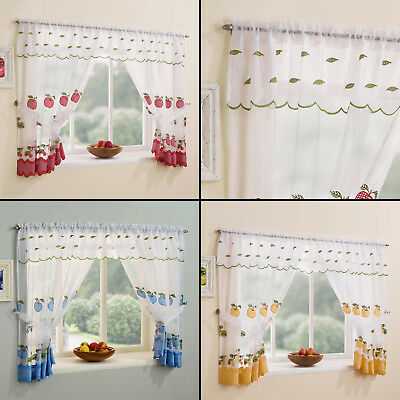 Winchester Kitchen Window Set Curtains & Tie Backs & Valance Red Yellow Blue