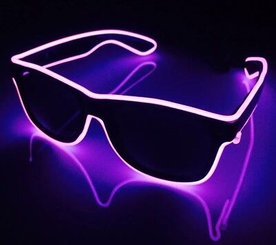 Pink Neon Sunglasses Hen Do Party Cool Funky Shades LED Light Up Dayglow
