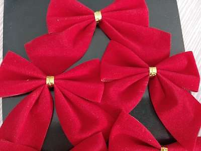 18x Bow Christmas Tree Decoration Xmas Hanging Ornament Bowknot Party Home Decor
