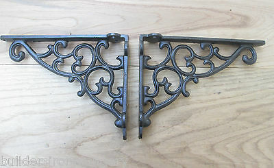 "PAIR OF REGENCY 9 X 7""  antique Vintage rustic style cast iron shelf brackets"