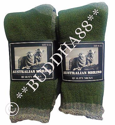 6 PAIRS GREEN HEAVY DUTY AUSTRALIA MERINO EXTRA THICK WOOL WORK SOCKS  Size 6-10