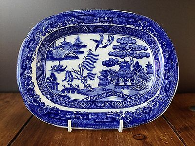Rare Antique Staffordshire Old Willow Blue & White Miniature Platter Meat Plate