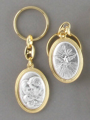 Keyring Double Sided Holy Spirit & Holy Family Medal Charm Keychain Gift