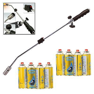 Outdoor Garden Weed Burner Blowtorch Weeds Wand Killer + 8 Butane Gas Canisters
