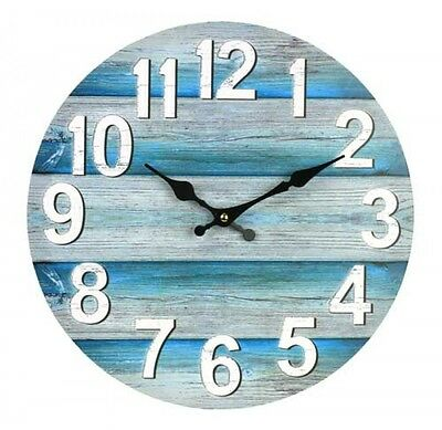Clock Country Vintage Inspired Wall Clocks 34CM BLUE BOARDS BEACH COLOUR New ...