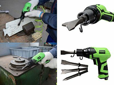 Air Hammer Stroke with 4 Chisels Easy Chisel Changes Protective Rubber Grip, New