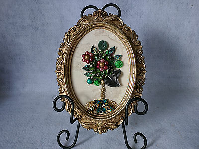 Framed Jewelry Art Tree vintage collage Green Cranberry Tree