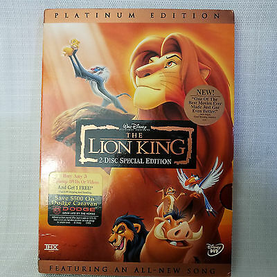 The Lion King DVD, 2003, 2-Disc Set, Platinum Edition Features an All-New Song