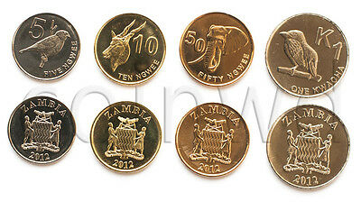 Zambia 4 Coins Set 2012 Animals Unc (#306)