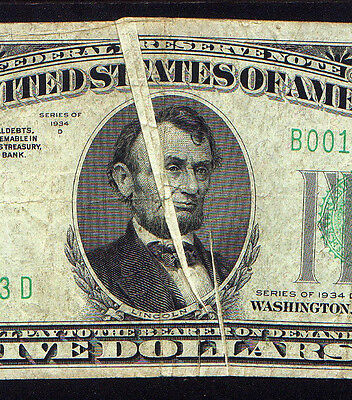 Major gutter fold ERROR thru Lincoln's head! and a 2nd one as well on a 1934D $5