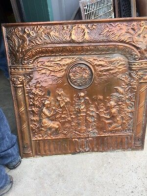 Fp 7 Antique Stamped Steel Copper Wash Summer Cover Angels 30.5 X 30.7 5W