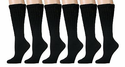 6 Pair Of excell Womens Black Cotton Extra Heavy Slouch Sock