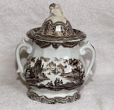 Antique Glasgow Pottery 2-Handled Jar Urn w/Lid Ironstone MINT