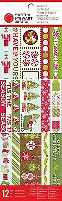 Martha Stewart Crafts Peppermint Winter Adhesive Border Pad for Scrapbooks, NEW