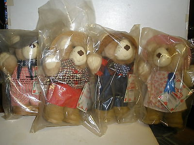 """NEW Vintage Wendy's 1986 Furskins 7"""" Bears Lot of 4 New With Tags"""