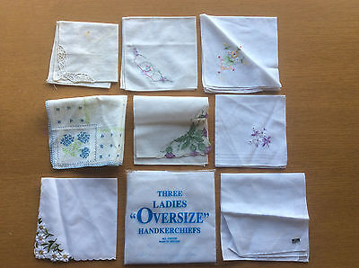 11 Vintage Ladies Handkerchiefs, White Cotton, Floral Embroidery, Some New