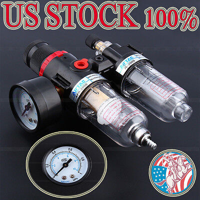 "1/4"" Air Pressure Regulator oil/Water Separator Equipment Compressor Airbrush US"